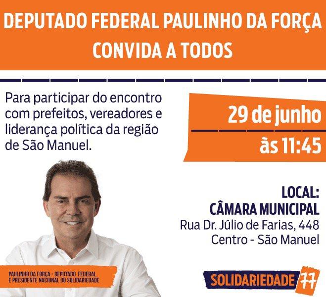 Paulinho da Força se reúne com lideranças nesta sexta-feira