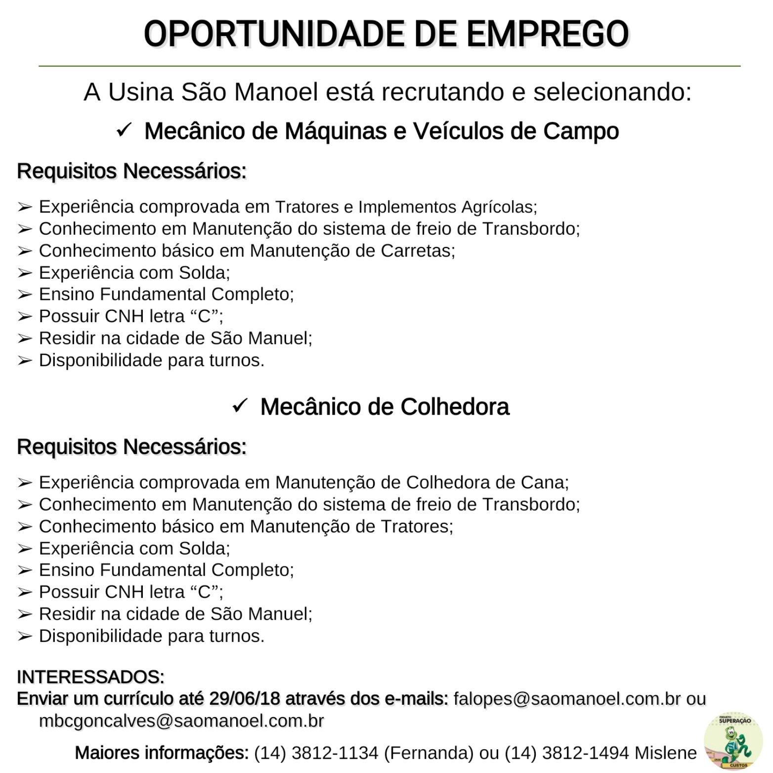 Usina São Manoel oferece oportunidades de emprego