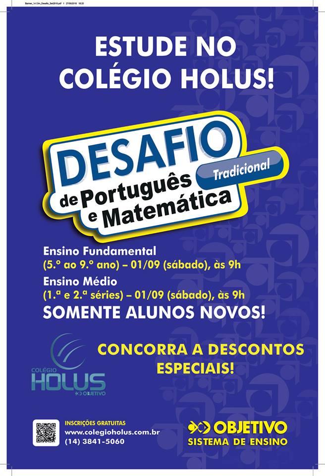 Última semana para se inscrever no Desafio de Português e Matemática do Hólus