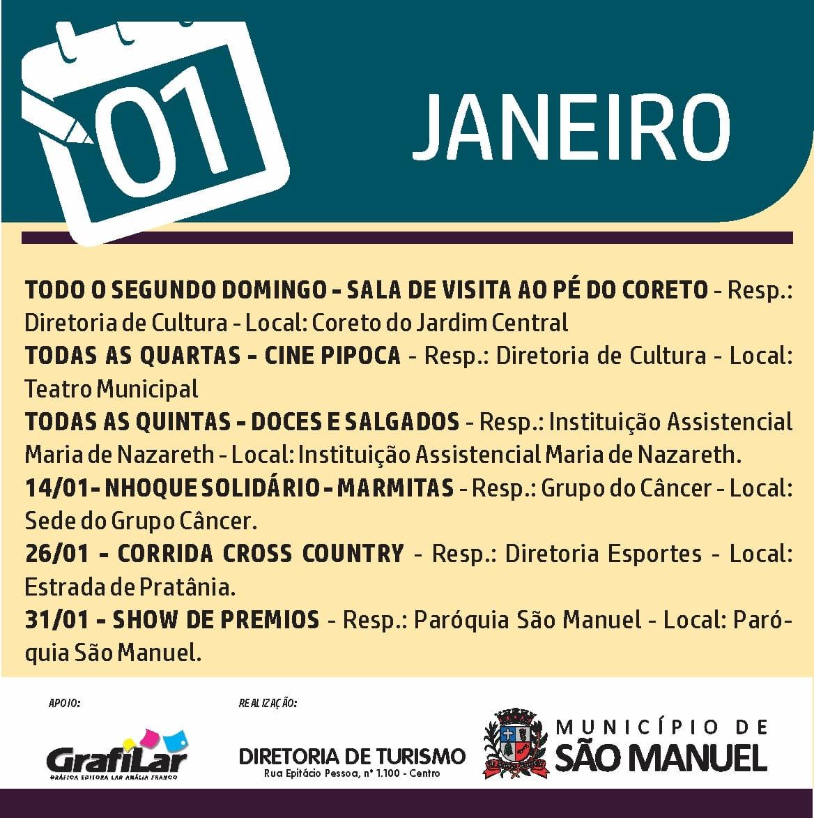 Confira os eventos de janeiro em São Manuel
