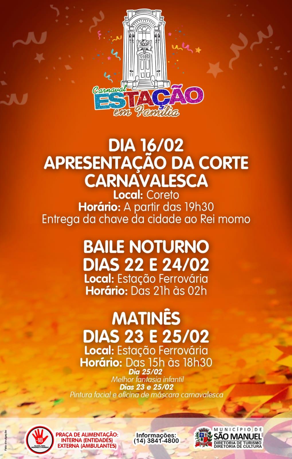 Confira a programação do Carnaval 2020 em São Manuel