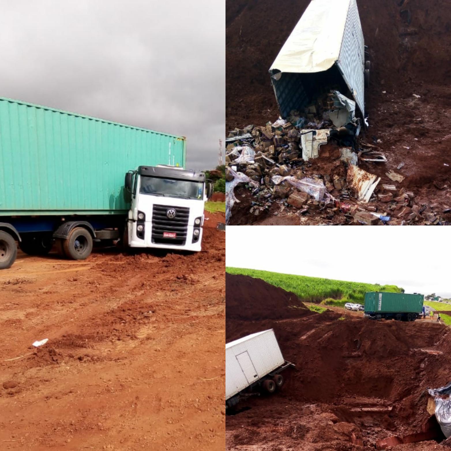 Mais um caminhão cai em buraco da rondon