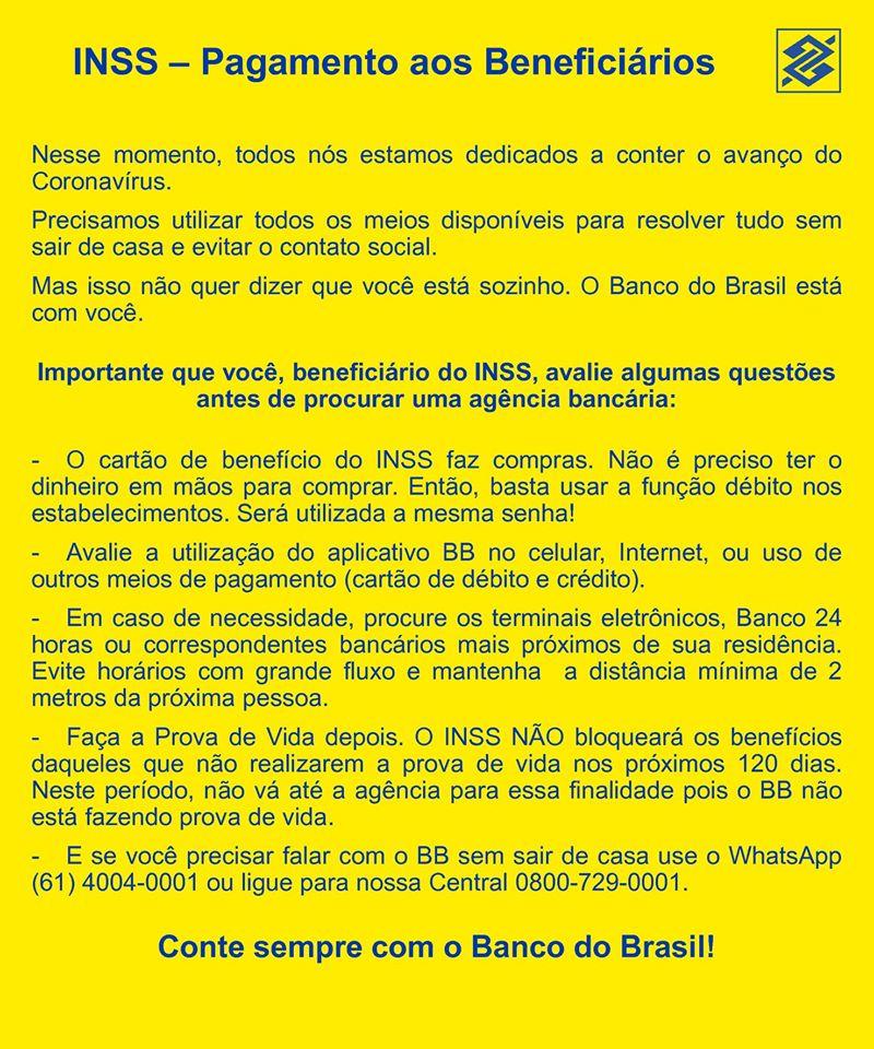 Banco do Brasil tem aviso a beneficiários do INSS