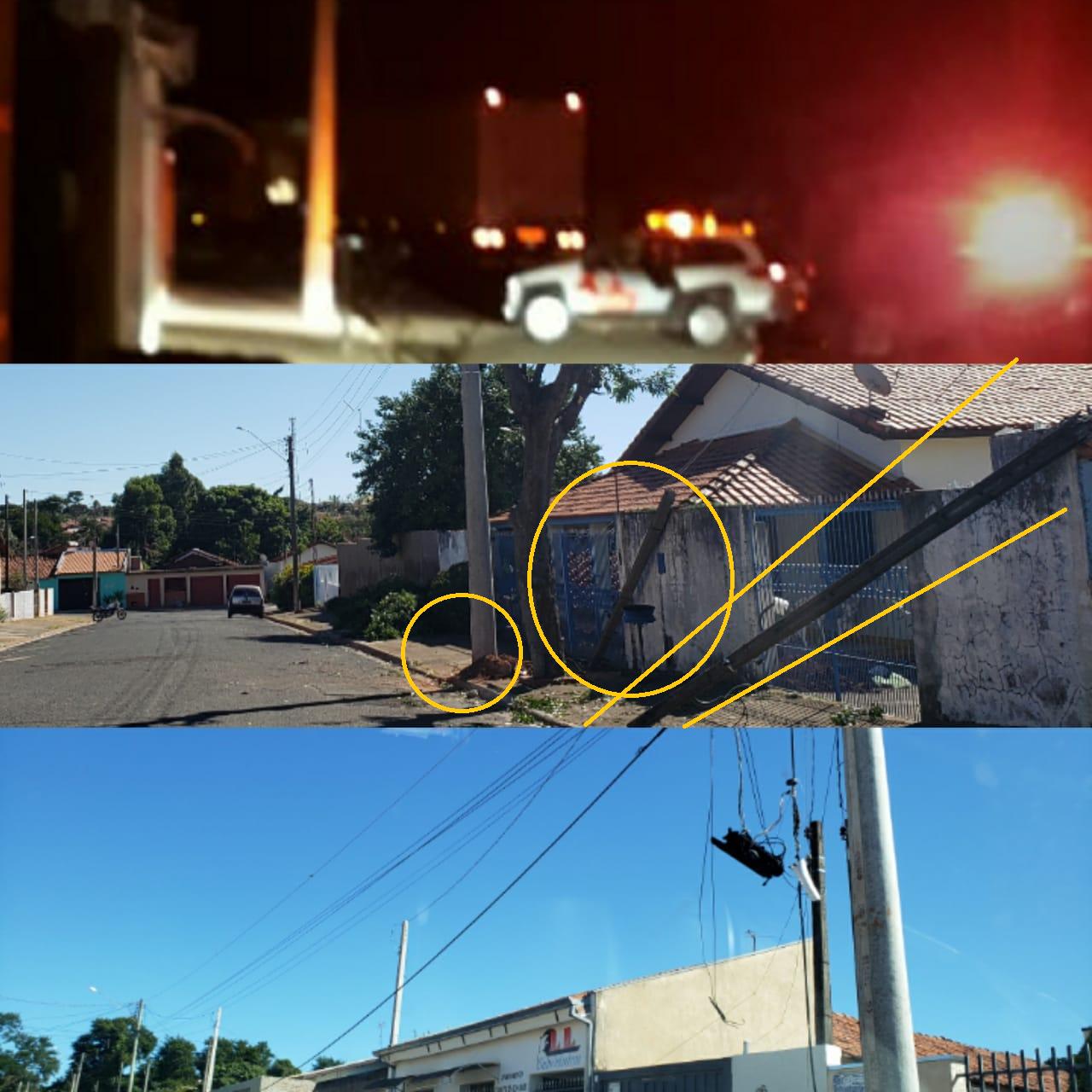 Caminhão arrasta fios e derruba postes em Aparecida