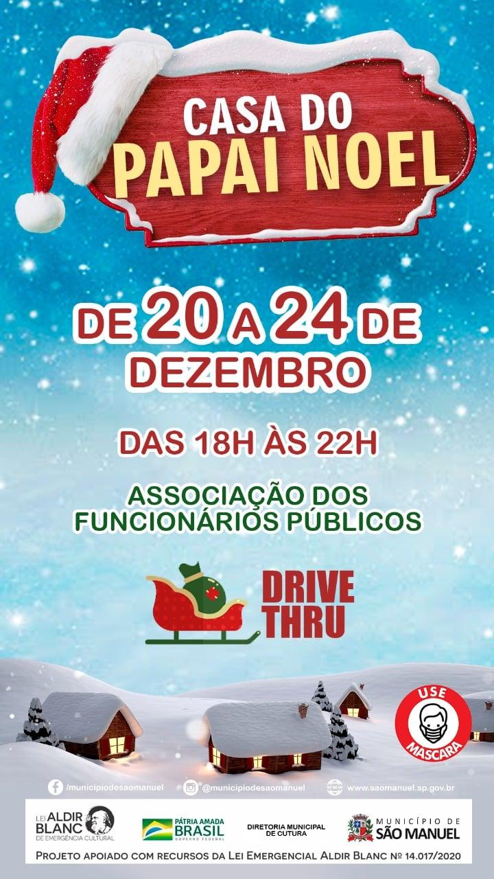 Drive-Thru permitirá que crianças visitem Papai Noel em São Manuel