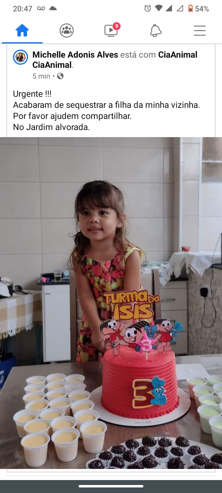 Imagem de menina sequestrada não é de São Manuel