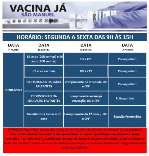 São Manuel vacina segunda-feira a população com 65 e 66 anos