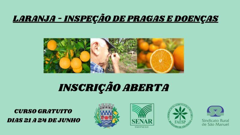 Pratânia terá curso gratuito para inspeção de pragas e doenças