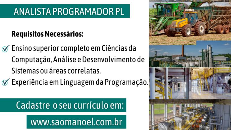 Usina São Manoel contrata Analista Programador PL
