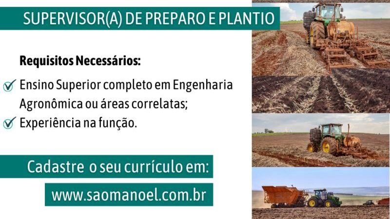 Usina São Manoel abre vaga para supervisor(a) de preparo e plantio