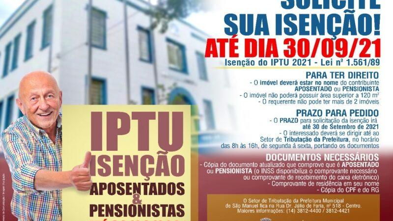 São Manuel: Aposentados e pensionistas devem solicitar isenção do IPTU 2022