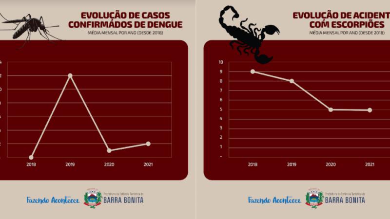 Barra Bonita anuncia queda em casos de acidentes com escorpião e crescimento de dengue
